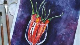 Картина акварель, ′ Перці у вині′ живопис