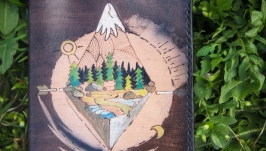 Кожаная обложка на паспорт Горы и реки
