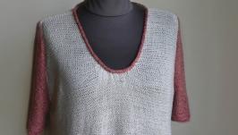 Летний женский пуловер ручной работы из льна