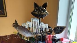 Кот - подставка под бутылки и стопки.