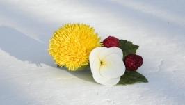 Заколка для волос с одуванчиком и малинкой, красивая заколка с цветами