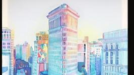 Батик.  ′Городской пейзаж′
