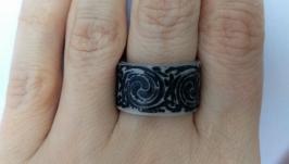Кольцо ручной работы ′Серебристое кружево′