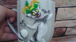 Кружечка с декором из полимерной глины ′Мадагаскар′