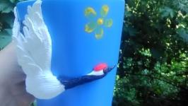 Кружечка с декором из полимерной глины ′Журавушек в небе′