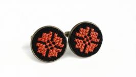 Запонки черные оранжевые круглые мужские, женские, унисекс