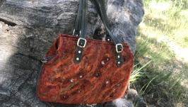 Валяная сумка - саквояж ′Терракота′