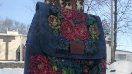 Валяный рюкзак ′Цветочный принт джинс′