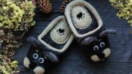 тапочки валяные из натуральной овечьей шерсти ′Котики′
