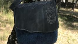 Валяная сумка клатч ′Деним′