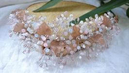 Свадебная пышная веточка с розовым кварцем ′Тенистый плющ′