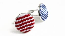 Запонки флаг США круглые мужские, женские, унисекс