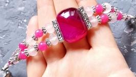 Браслет з натуральних агатів та кристалів ′Синьоока красуня′