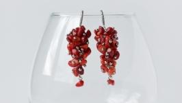 Серьги-грозди из коралла