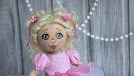 Куколка текстильная Нежная блондинка в розовом
