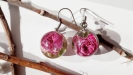 Сережки з рожевими трояндами в ювелірній смолі