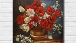 Картина маслом ′Весенние цветы′
