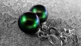 Серьги-пуссеты MYSTERIOUS GREEN - серебро, жемчуг Сваровски