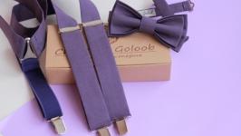 Комплект подтяжки и бабочка цвета ′ Пыльный баклажан′