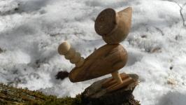 Птичка деревянная игрушечная