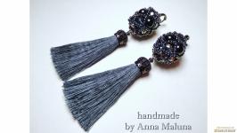 Серьги-кисти ручной работы ′Помандер′ с натуральным камнем (черный агат)