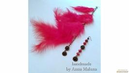 Асимметричные серьги-перья ′Жар-птица′