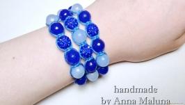 Сет браслетов шамбала ручной работы ′Ромб′ с натуральными камнями (нефрит,