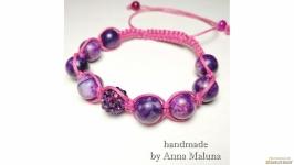 Браслет шамбала ′Фиолетовый космос′ с натуральным камнем (агат)
