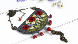 Большой кулон бохо с полевыми цветами маки, незабудки, ромашки, лаванда