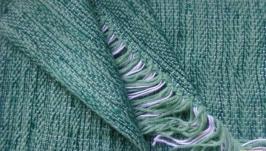 Домотканый шерстяной шарф малахитового цвета