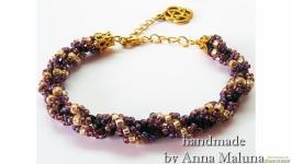 Браслет-жгут ручной работы ′Фиолетово-золотой′ из бисера