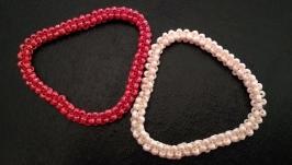 Сет браслетов-жгутов ручной работы ′Коралл и жемчуг′ из бисера