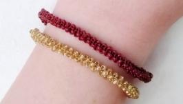 Сет браслетов-жгутов ручной работы ′Коричневый и золотой′ из бисера