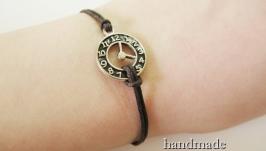 Браслет ручной работы ′Часы′ (коричневый)