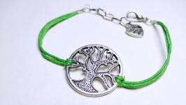 Браслет ручной работы ′Древо′ (зеленый)