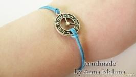 Браслет ручной работы ′Часы′ (голубой)