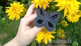 Брошь-бабочка ручной работы ′Черный махаон′