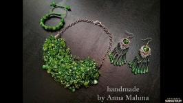 Комплект украшений ручной работы в смешанной технике ′Молодая зелень′