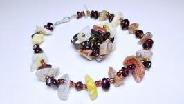 Комплект украшений ручной работы ′Морская галька′ (браслет и кольцо)