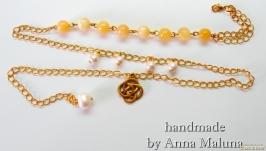 Комплект украшений ручной работы ′Золотой вензель′ (браслет, серьги)