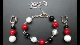 Комплект украшений ручной работы (браслет и серьги)