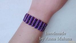 Браслет-мозаика ручной работы ′Фиолетовый′ из бисера