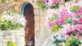 Картина маслом, миниатюра, пейзаж ′Жаркое лето′ солнечный
