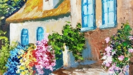 Картина маслом, миниатюра, пейзаж ′После прогулки′