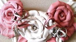 Комплект (колье и браслет) из кожи- ′ РОЗЫ′