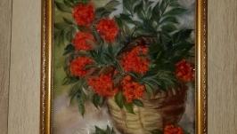 Картина из шерсти ′ Рябина ′