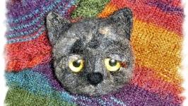 брошь  из шерсти Грустный котик