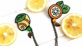 Комплект брошей Двойная брошь с цепочкой Лимоны