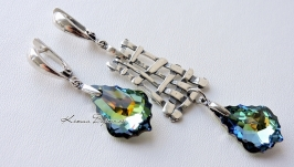 Срібні сережки з підвісками Swarovski