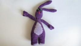 Вязаная игрушка амигуруми мультгерой фиолетовый зайчик Мим-Мим